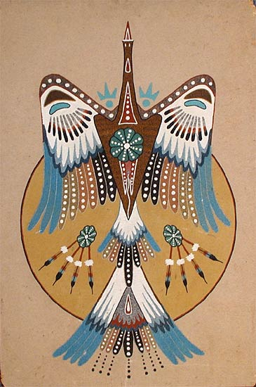 """Peyote Bird"" Sandpainting by Woody Crumbo"
