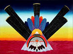"Comanche Artist, Tennyson Eckiwaudah ""Morning Vision"" peyote painting"