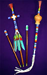 Beaded NAC Staff & Gourd Rattle