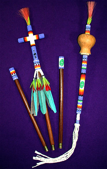 Beaded Peyote Staff & Gourd Rattle